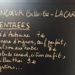 Les entrées à la carte du Moncoeur Belleville